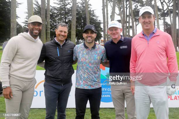 Larry Fitzgerald, guest, Kelley James, Brandt Snedeker, and Peyton Manning attend The Workday Charity Classic, hosted by Stephen and Ayesha Curry's...