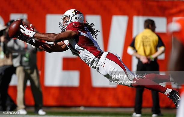 Larry Fitzgerald of the Arizona Cardinals can't pull in a second quarter catch while playing the Cleveland Browns at FirstEnergy Stadium on November...