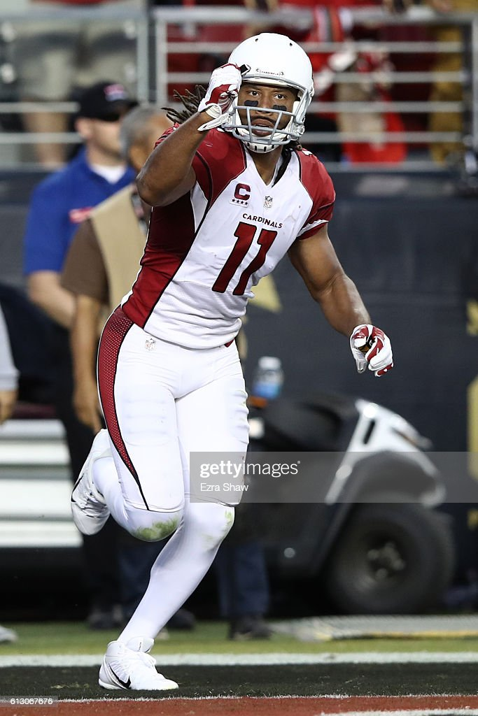 Larry Fitzgerald #11 of the Arizona Cardinals celebrates after a touchdown against the San Francisco 49ers during their NFL game at Levi's Stadium on October 6, 2016 in Santa Clara, California.