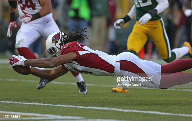 Larry Fitzgerald of the Arizona Cardinals dives over the goal line to score a touchdown against the Green Bay Packers at Lambeau Field on November 4...