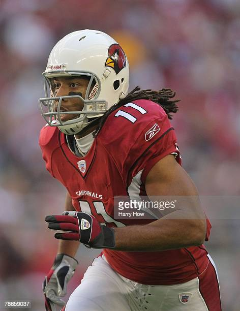 Larry Fitzgerald of the Arizona Cardinals looks to make a play against the Atlanta Falcons at the University of Phoenix Stadium on December 23, 2007...