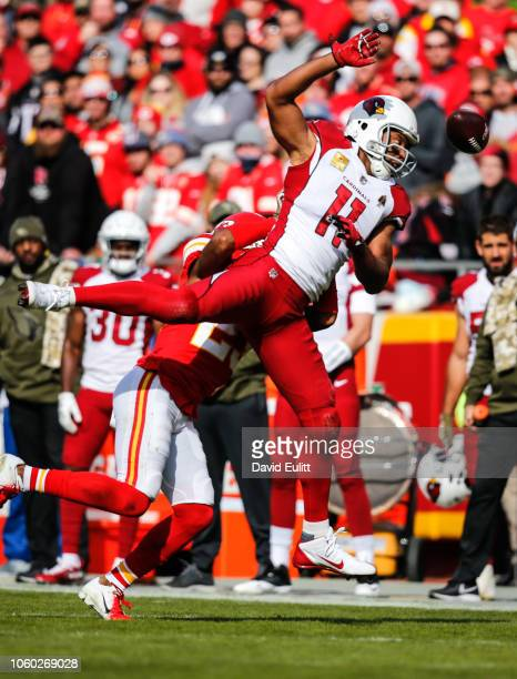 Larry Fitzgerald of the Arizona Cardinals narrowly misses making a catch during the first half of the game against Kansas City Chiefsat Arrowhead...