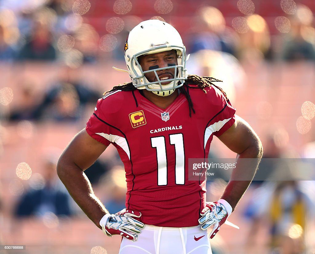 Larry Fitzgerald #11 of the Arizona Cardinals warms up before the game against the Los Angeles Rams at Los Angeles Memorial Coliseum on January 1, 2017 in Los Angeles, California.