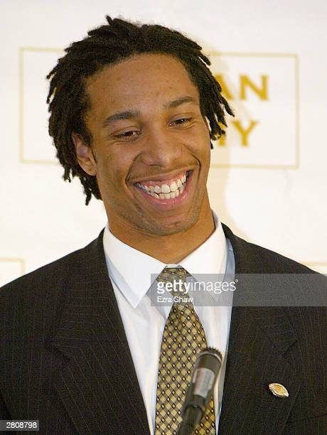 Larry Fitzgerald of the University of Pittsburgh Panthers finished second in the 2003 Heisman Trophy voting on December 13, 2003 at the Yale Club in...