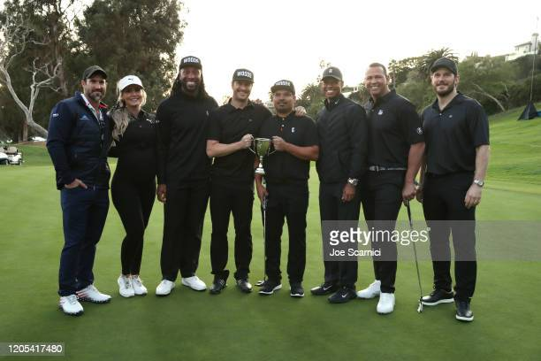 Larry Fitzgerald Oliver Hudson Michael Pena Tiger Woods Alex Rodriguez and Chris Pratt pose with the Celebrity Cup award during the Celebrity Cup on...