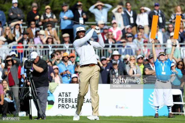 Larry Fitzgerald plays his shot from the 17th tee during Round Three of the ATT Pebble Beach ProAm at Spyglass Hill Golf Course on February 10 2018...