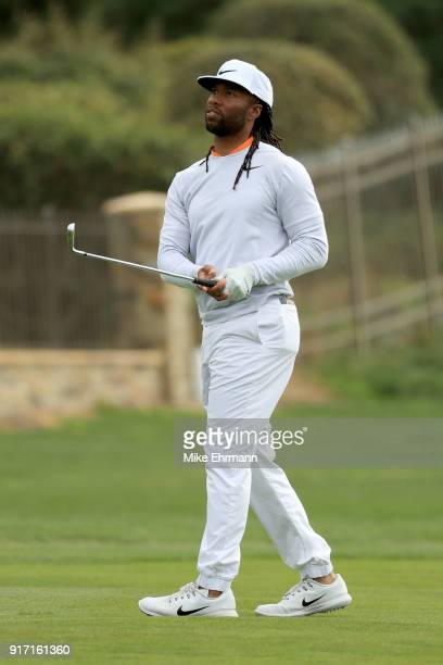 Larry Fitzgerald plays his shot on the 14th hole during the Final Round of the ATT Pebble Beach ProAm at Pebble Beach Golf Links on February 11 2018...