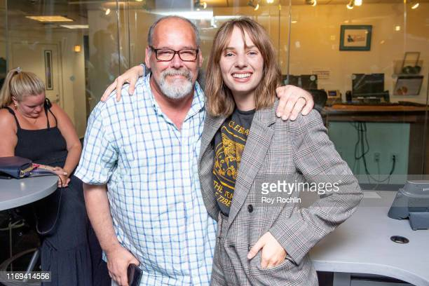 Larry Flick with Maya Hawke as she visits the Larry Flick show at SiriusXM at SiriusXM Studios on August 21 2019 in New York City