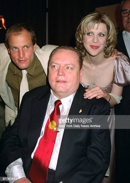 Larry Flint is backed up by Woody Harrelson and Courtney Love at the premiere of 'The People vs Larry Flint' at Lincoln Center Harrelson and Love...