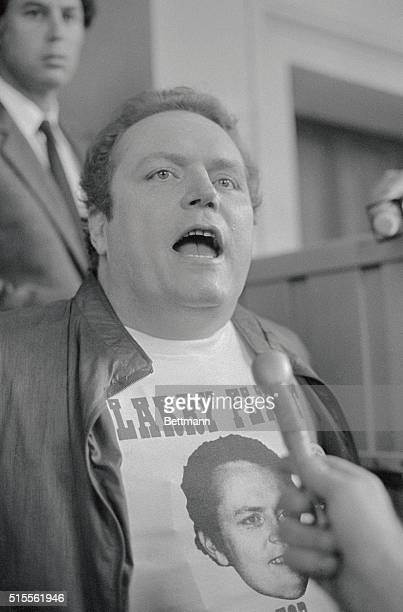Larry Flynt Hustler magazine publisher speaks to newsmen at his BelAir home here as he is being arrested by Federal Marshals for defying a court...