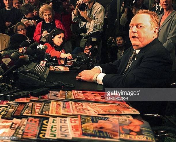 Larry Flynt publisher of Hustler magazine announces to the press 11 January that US Rep Bob Barr one of seven House members acting as prosecutors in...