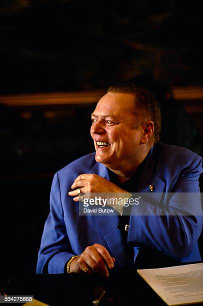 Larry Flynt, publisher of the pornography magazine Hustler, laughs in Beverly Hills. In 1998, he is denying accusations of sexual abuse made by his...