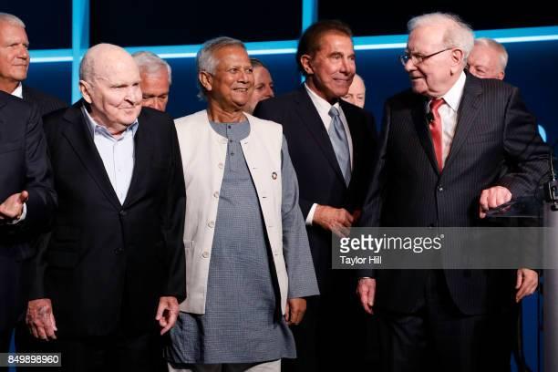 Larry Gagosian Jack Welch Muhammad Yunus Steve Wynn and Warren Buffett attend the Forbes Media Centennial Celebration at Pier 60 on September 19 2017...