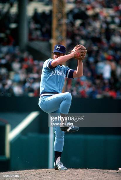 Larry Gura of the Kansas City Royals pitches against the Baltimore Orioles during a Major League Baseball game circa 1978 at Memorial Stadium in...