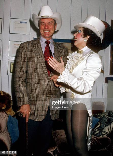 Larry Hagman and Ann Miller backstage at the Broadway musical Sugar Babies circa 1980 in New York City