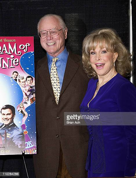 Larry Hagman and Barbara Eden during Larry Hagman and Barbara Eden Sign I Dream of Jeanie DVD at BN in New York City March 15 2005 at Barnes and...