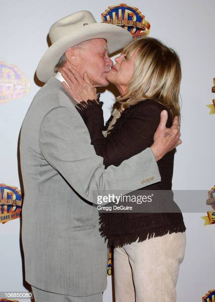 Larry Hagman and Linda Gray during Warner Bros Television And Warner Home Video Celebrate 50 Years Of Quality TV Arrivals at Warner Bros Studio in...