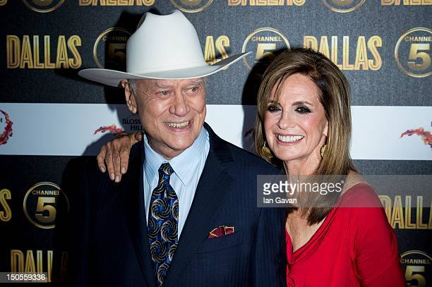 Larry Hagman and Linda Grey attend the Channel 5 Dallas Launch Party at Old Billingsgate Market on August 21 2012 in London England