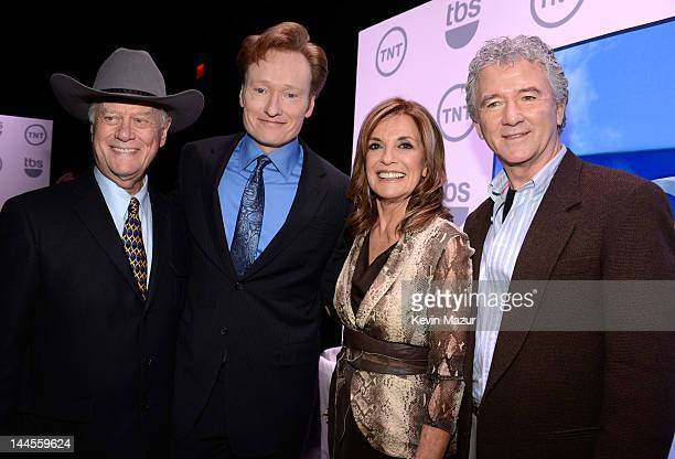 Larry Hagman Conan O'Brien Linda Gray and Patrick Duffy attend the TNT/ TBS Upfront 2012 at Hammerstein Ballroom on May 16 2012 in New York City...