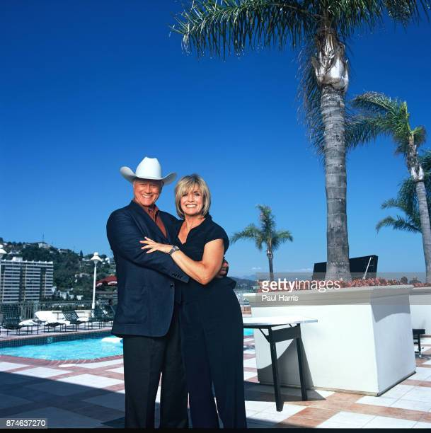 Larry Hagman is now 71 years old and has had a liver transplant Linda Gray is 60 years old and a grandmother Photographed at the Wyndham Hotel West...