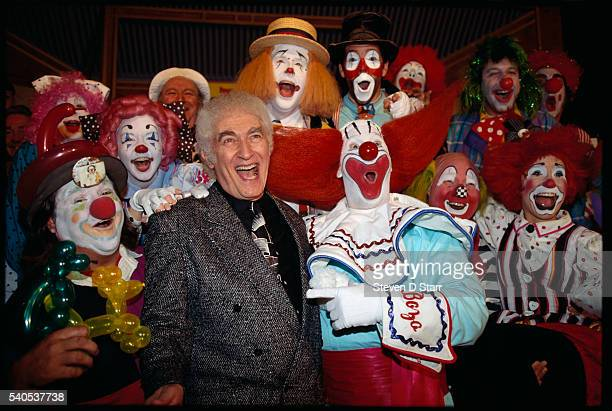 Larry Harmon the original Bozo the clown and the current Bozo pose with aspiring Bozo's at a Hollywood audition