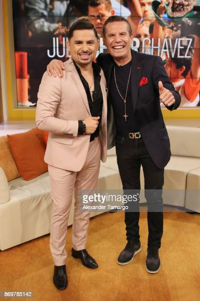 Larry Hernandez and Julio Cesar Chavez are seen on the set of 'Un Nuevo Dia' at Telemundo Studios to promote the series 'El Cesar' on November 3 2017...