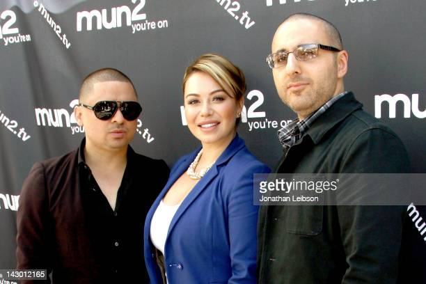 Larry Hernandez, Janney 'Chiquis' Marin and Haythem Haddad attend the mun2 2012 Television Program Lineup Preview - Press Conference at SLS Hotel at...