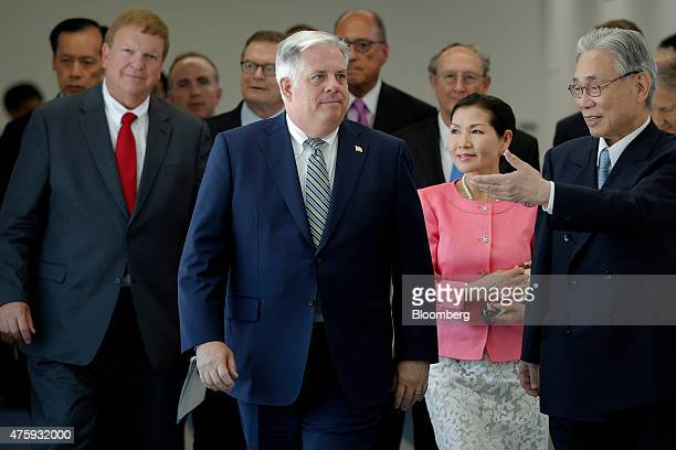 Larry Hogan governor of Maryland second from left and his delegation members including Pete Rahn Maryland transportation secretary left and Yumi...