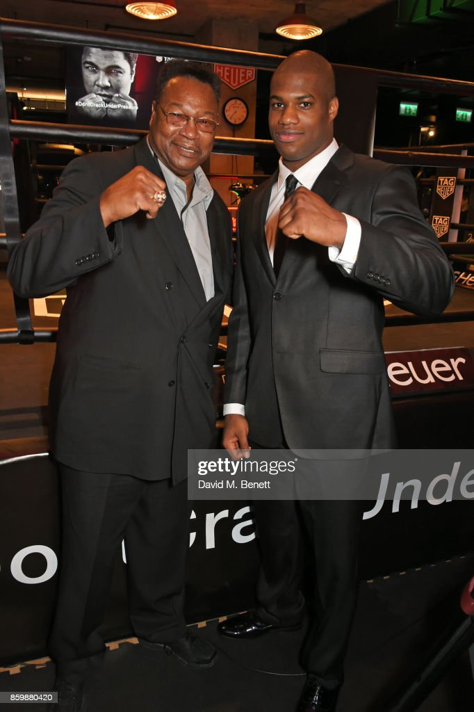Larry Holmes (L) and Daniel Dubois attend the launch of the TAG Heuer Muhammad Ali Limited Edition Timepieces at BXR Gym on October 10, 2017 in London, England.