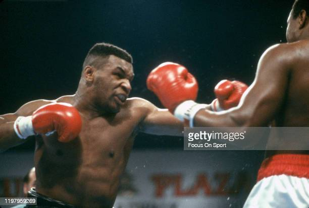 Larry Holmes and Mike Tyson fights for the WBA, WBC and IBF heavyweight tittle on January 22, 1988 at the Convention Hall in Atlantic City, New...