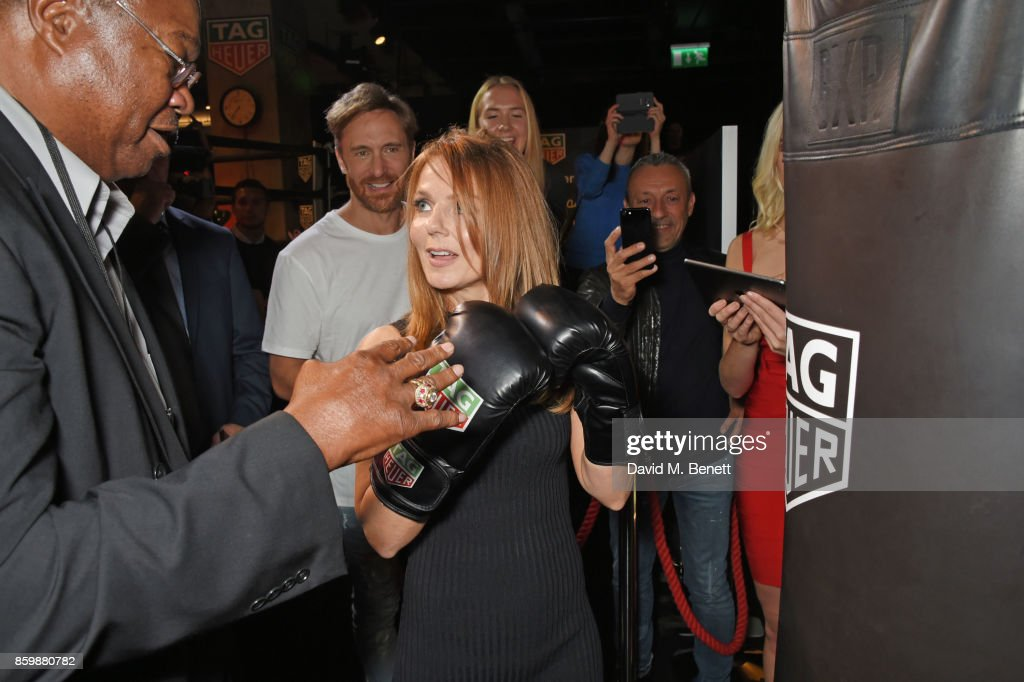 Larry Holmes, David Guetta and Geri Horner attend the launch of the TAG Heuer Muhammad Ali Limited Edition Timepieces at BXR Gym on October 10, 2017 in London, England.