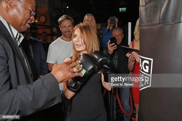 Larry Holmes David Guetta and Geri Horner attend the launch of the TAG Heuer Muhammad Ali Limited Edition Timepieces at BXR Gym on October 10 2017 in...