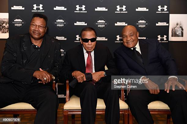 Larry Holmes Muhammad Ali and George Foreman attends the Sports Illustrated Tribute to Muhammad Ali at The Muhammad Ali Center on October 1 2015 in...