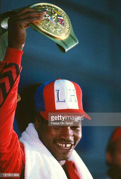 Larry Holmes shows off the WBC tittle belt before his WBC heavyweight tittle fight against Mohammad Ali October 2 1980 at Caesar's Palace in Las...