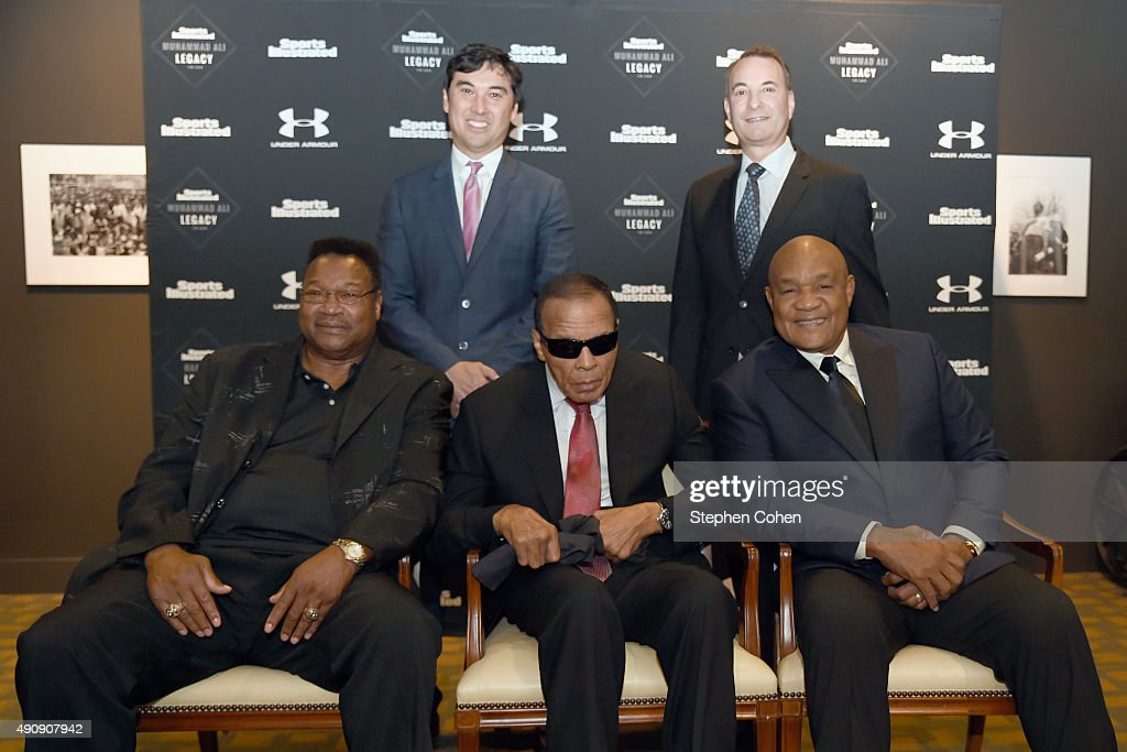 Larry Holmes, SI Editor Chris Stone, Muhammad Ali, Sports Illustrated Group Editor Paul Fichtenbaum and George Foreman attend the Sports Illustrated Tribute to Muhammad Ali at The Muhammad Ali Center on October 1, 2015 in Louisville, Kentucky.