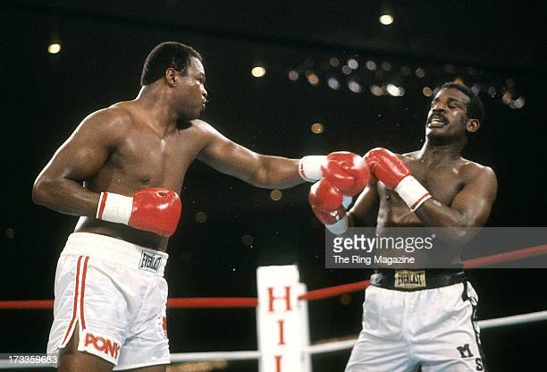 Larry Holmes throws a punch against Michael Spinks during the fight at Las Vegas Hilton Hilton Center in Las Vegas Nevada Michael Spinks won the IBF...