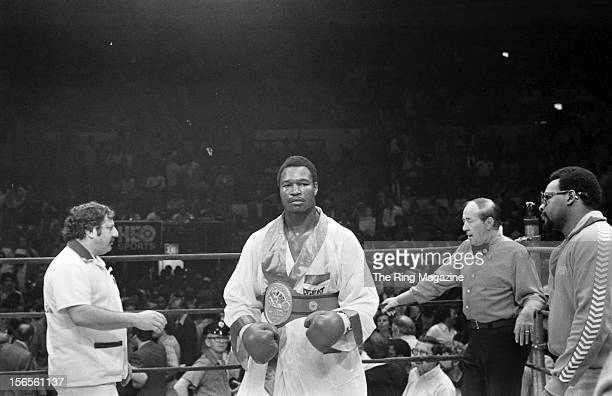 Larry Homes walks in the ring after winning the fight against Mike Weaver at Madison Square Garden on June 22 1979 in New York New York Larry Holmes...