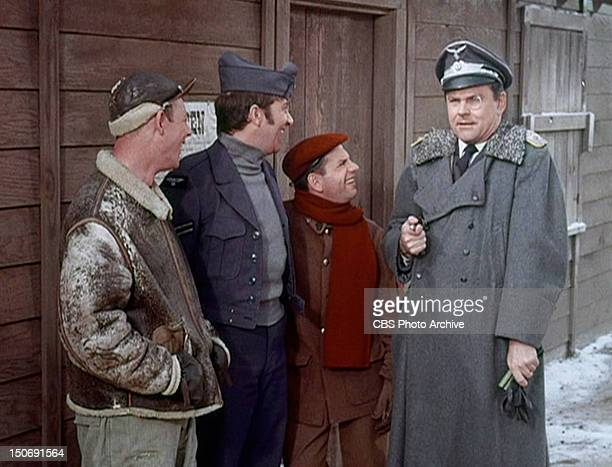 Larry Hovis as Sgt Andrew Carter Richard Dawson as Cpl Peter Newkirk Robert Clary as Cpl Louis LeBeau and Bob Crane as Col Robert E Hogan in the...