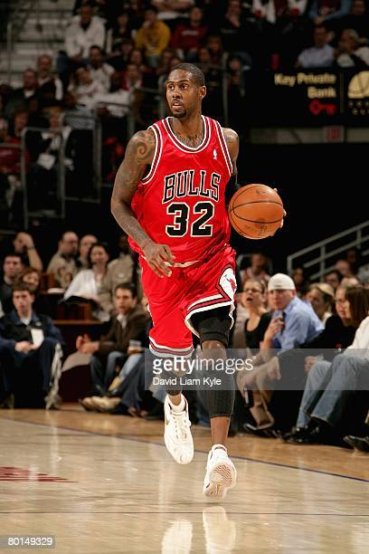 Larry Hughes of the Chicago Bulls brings the ball upcourt during the game against the Cleveland Cavaliers on March 2 2008 at Quicken Loans Arena in...