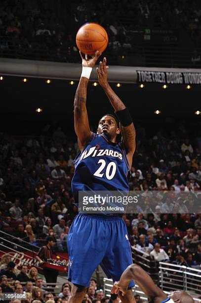 8fccaebabf7 Larry Hughes of the Washington Wizards shoots a jump shot during the NBA  game against the