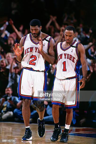 Larry Johnson and Chris Childs of the New York Knicks during the game against the Indiana Pacers during the Eastern Conferece Finals on June 4 1999...