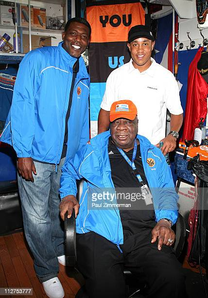 Larry Johnson Cal Ramsey and John Starks attend the Knicks Playoff Cuts during the Knicks What Would You Do For Playoff Tickets campaign at ABL...