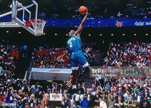 Larry Johnson of the Charlotte Hornets attempts a dunk during the 1992 Slam Dunk Contest on February 8 1992 at Orlando Arena in Orlando Florida NOTE...