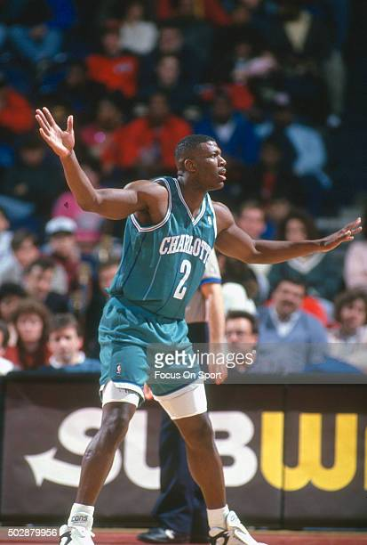 Larry Johnson of the Charlotte Hornets in action against the Washington Bullets during an NBA basketball game circa 1993 at the US Airways Arena in...