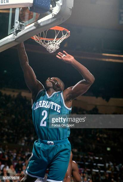 Larry Johnson of the Charlotte Hornets in action against the New York Knicks during an NBA basketball game circa 1993 at Madison Square Garden in the...