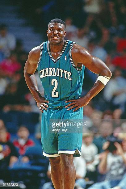 Larry Johnson of the Charlotte Hornets looks on during the NBA game against the Miami Heat on November 27 in Miami Florida NOTE TO USER User...