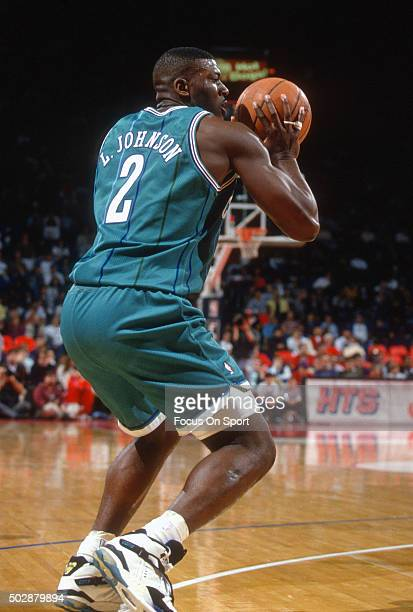Larry Johnson of the Charlotte Hornets looks to shoot against the Washington Bullets during an NBA basketball game circa 1993 at the US Airways Arena...