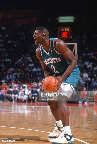 Larry Johnson of the Charlotte Hornets looks to shoot against the Washington Bullets during an NBA basketball game circa 1991 at the Capital Centre...
