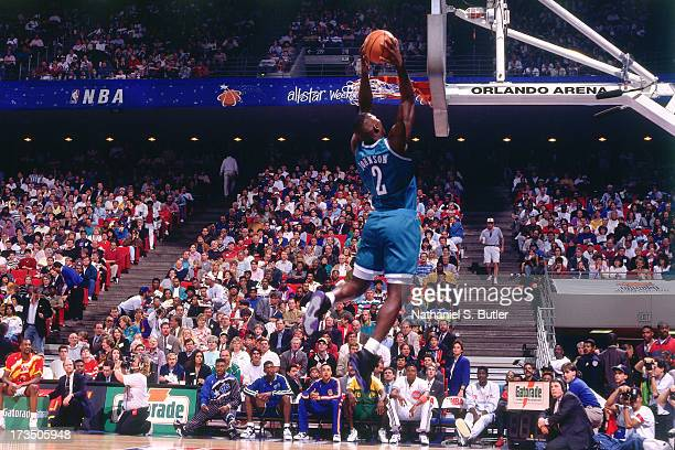 Larry Johnson of the Charlotte Hornets rises for a dunk during the 1992 Slam Dunk Contest at the Orlando Arena in Orlando Florida NOTE TO USER User...