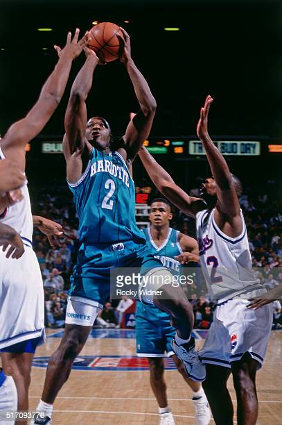 Larry Johnson of the Charlotte Hornets shoots against the Sacramento Kings on January 18 1992 at Arco Arena in Sacramento California NOTE TO USER...